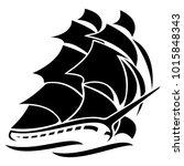 old tall sailing ship vector... | Shutterstock .eps vector #1015848343