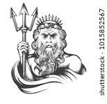 neptune holds trident drawn in...   Shutterstock .eps vector #1015852567