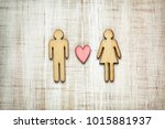 man and woman shape with heart  ... | Shutterstock . vector #1015881937