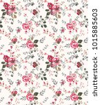 seamless floral pattern in... | Shutterstock .eps vector #1015885603