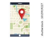 smartphone device with gps app | Shutterstock .eps vector #1015919227
