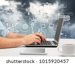 business man using laptop | Shutterstock . vector #1015920457