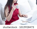 asian business woman working in ... | Shutterstock . vector #1015928473