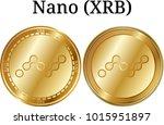 set of physical golden coin... | Shutterstock .eps vector #1015951897