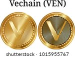 set of physical golden coin... | Shutterstock .eps vector #1015955767
