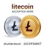 litecoin. accepted sign emblem. ...   Shutterstock .eps vector #1015956847