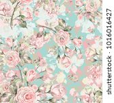 watercolor seamless rose... | Shutterstock . vector #1016016427