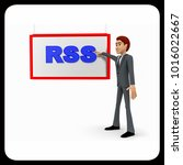 3d man pointing fingure at rss... | Shutterstock . vector #1016022667