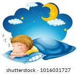 boy sleeping on blue blanket... | Shutterstock .eps vector #1016031727