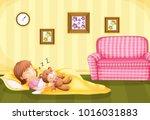 girl sleeping with teddybear on ...