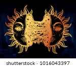 sun broken in two half open and ... | Shutterstock .eps vector #1016043397