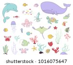 sea animals  fish and water... | Shutterstock .eps vector #1016075647