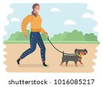 Stock vector vector cartoon illustration of young woman walking a dog in the park 1016085217