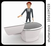 3d man with toilet seat concept ...   Shutterstock . vector #1016109223