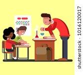 kids in chemical classes | Shutterstock .eps vector #1016120017