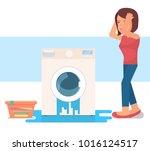 broken washing machine | Shutterstock .eps vector #1016124517