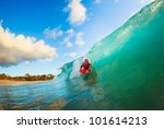 body boarder on large wave... | Shutterstock . vector #101614213