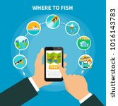fishing conceptual composition... | Shutterstock . vector #1016143783