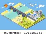 bridge and beach isometric... | Shutterstock . vector #1016151163