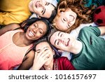 group of  friends laughing out... | Shutterstock . vector #1016157697