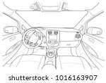 interior of electromobile with... | Shutterstock .eps vector #1016163907