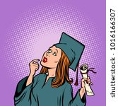 girl graduate thought  the... | Shutterstock .eps vector #1016166307