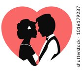 silhouettes of man and woman... | Shutterstock .eps vector #1016179237