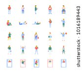 flat vector icons collection of ... | Shutterstock .eps vector #1016189443