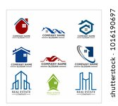 real estate logo set   abstract ... | Shutterstock .eps vector #1016190697
