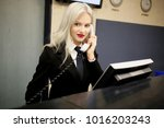 the beautiful smiling business...   Shutterstock . vector #1016203243