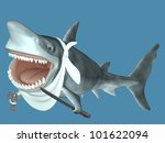 Shark - Ready to Eat.  Shark with its mouth open wide, wearing a neckerchief, holding a knife and fork, swimming in the ocean. - stock photo
