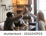 excited diverse friends join... | Shutterstock . vector #1016243923