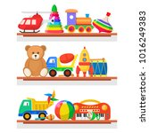 childrens toys on the shelves.... | Shutterstock .eps vector #1016249383