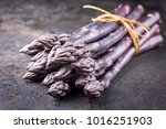 row purple asparagus as close... | Shutterstock . vector #1016251903