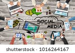 group of people with devices in ... | Shutterstock . vector #1016264167