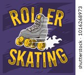 roller skating design with a... | Shutterstock .eps vector #1016268973