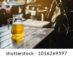 beer on the wooden table with... | Shutterstock . vector #1016269597