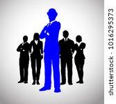 bold british leader in blue of... | Shutterstock .eps vector #1016295373