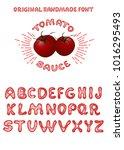tomato sauce. vintage font...   Shutterstock .eps vector #1016295493