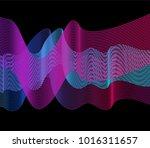 neon wavy lines on dark... | Shutterstock .eps vector #1016311657