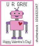 happy valentines day robot   Shutterstock . vector #1016321347
