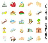 facility icons set. cartoon set ... | Shutterstock . vector #1016330593