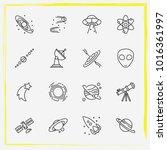 astronomy line icon set rocket  ... | Shutterstock .eps vector #1016361997