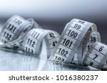 curved measuring tape.... | Shutterstock . vector #1016380237