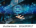 view of a blockchain title with ... | Shutterstock . vector #1016393917