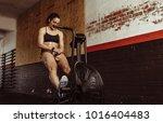 fit young woman taking break... | Shutterstock . vector #1016404483
