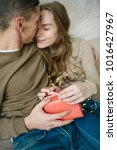 young caucasian couple unboxing ...   Shutterstock . vector #1016427967