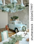 blue retro car with christmas...   Shutterstock . vector #1016427997