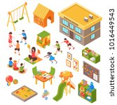 isometric kindergarten set of... | Shutterstock . vector #1016449543