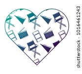 label heart with film movie...   Shutterstock .eps vector #1016461243